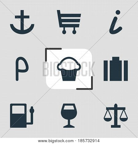 Vector Illustration Of 9 Map Icons. Editable Pack Of Shopping Cart, Map Information, Cake And Other Elements.