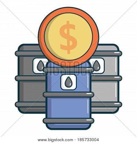 Oil barrels with dollar sign icon. Cartoon illustration of oil barrels with dollar sign vector icon for web