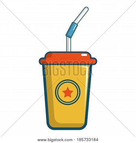 Soft drink in a yellow paper cup icon. Cartoon illustration of soft drink in a yellow paper cup vector icon for web