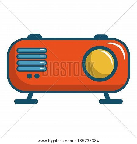Retro orange radio receiver icon. Cartoon illustration of retro orange radio receiver vector icon for web