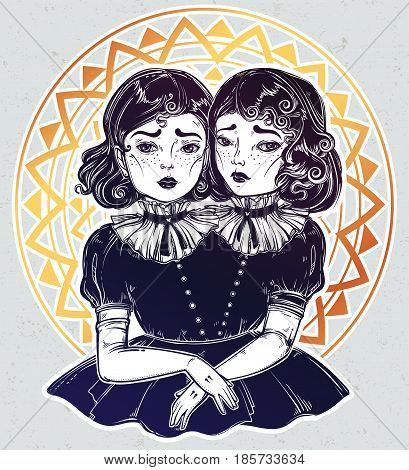 The siamese twins. Portrait of beautiful victorian circus freaks in vintage style. Cute monster girls. For t-shirt design or post card. Fashion sketch vector illustration. Weird gothic art. Halloween.