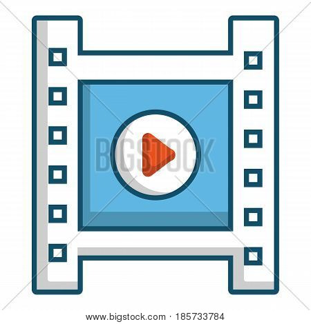 Film strip with play sign icon. Cartoon illustration of film strip with play sign vector icon for web