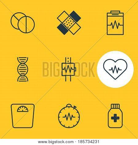 Vector Illustration Of 9 Medical Icons. Editable Pack Of Pressure Gauge, Round Tablet, Medicine Jar And Other Elements.
