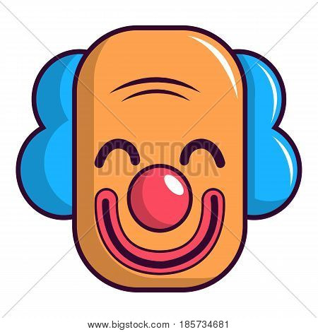 Smiling clown head icon. Cartoon illustration of smiling clown head vector icon for web