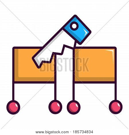 Magician sawing box icon. Cartoon illustration of magician sawing box vector icon for web