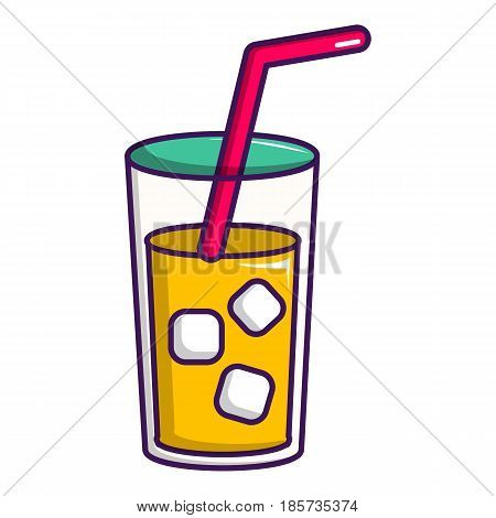 Glass of coctail with straw icon. Cartoon illustration of glass of coctail with straw vector icon for web