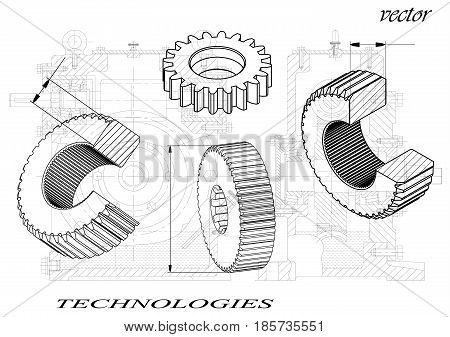 Drawings of cogwheels on white a black background