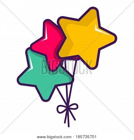 Colourful star shaped balloons icon. Cartoon illustration of colourful star shaped balloons vector icon for web