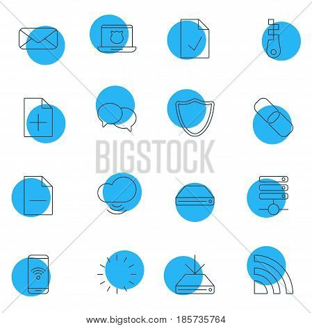 Vector Illustration Of 16 Network Icons. Editable Pack Of Secure Laptop, Safeguard, Document Adding And Other Elements.