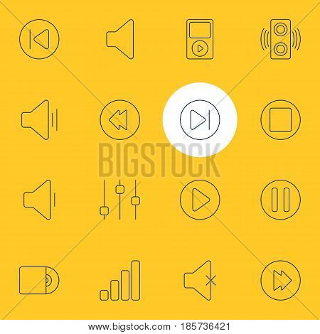 Vector Illustration Of 16 Melody Icons. Editable Pack Of Lag, Compact Disk, Subsequent And Other Elements.