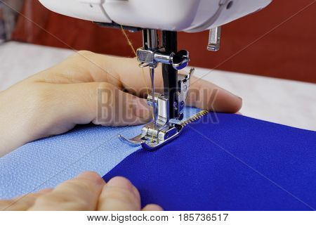 The sewing process on a modern sewing machine
