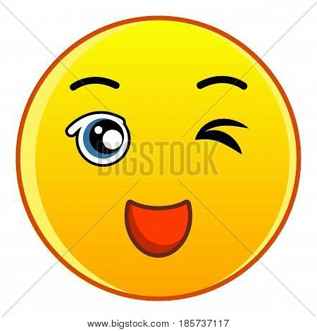 Winking smiling yellow face icon. Cartoon illustration of winking smiling yellow face vector icon for web