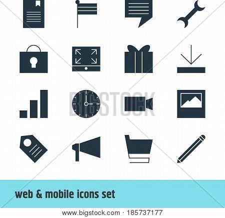 Vector Illustration Of 16 Web Icons. Editable Pack Of Keyhole, Bullhorn, Landscape Photo Elements.