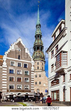 Riga, Latvia - July, 2012: St. Peter's Church city view. Main square of old town Riga. St. Peter's Church city view.