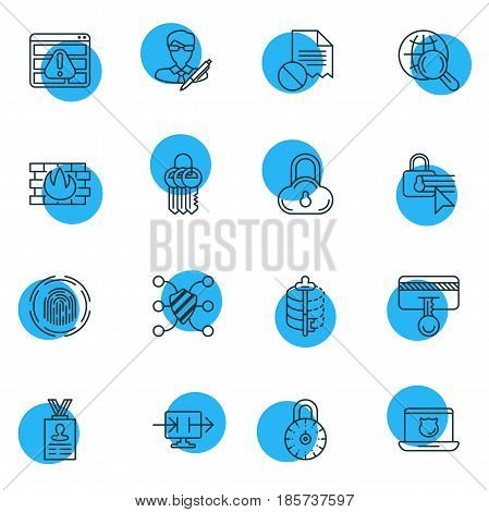 Vector Illustration Of 16 Data Icons. Editable Pack Of Encoder, Safety Key, Confidentiality Options And Other Elements.