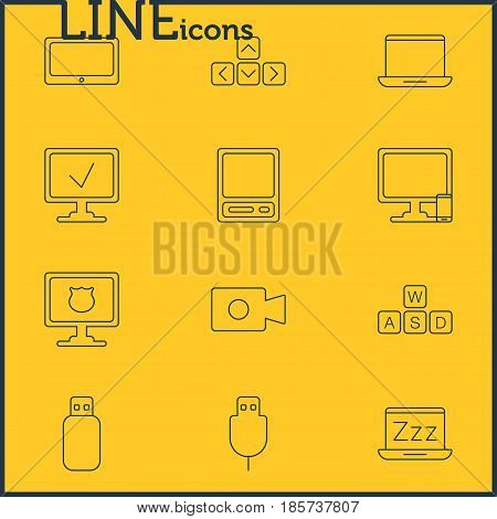 Vector Illustration Of 12 Computer Icons. Editable Pack Of Pda, Antivirus, Movie Cam And Other Elements.