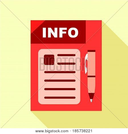 Red info board icon. Flat illustration of red info board vector icon for web