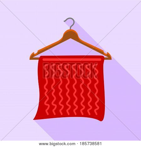 Red towel on coat hanger icon. Flat illustration of red towel on coat hanger vector icon for web