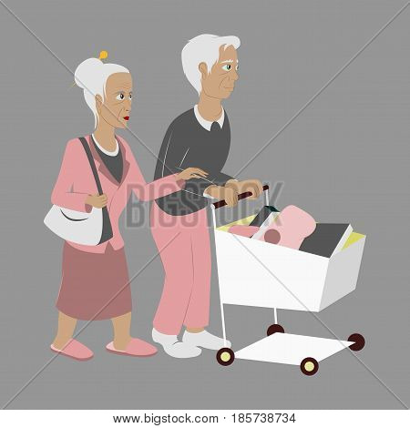 Pensioners with a trolley products shopping supermarket