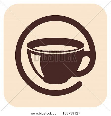 Coffee cups vector icons on a beige background