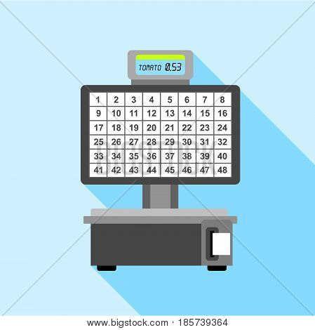 Automatic electronic check printing scales icon. Flat illustration of automatic electronic check printing scales vector icon for web