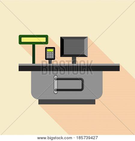 Cash supermarket desk icon. Flat illustration of cash supermarket desk vector icon for web