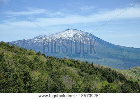 snowy Etna Volcano from Nebrodi Park, Sicily