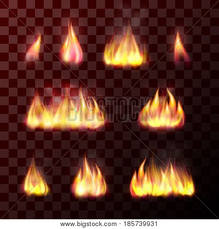 Set of transparent flame effects hot burn fire, bright bonfire, warm and orange fiery light of burning candle or matches. Realistic design element. Vector illustration isolated on background.