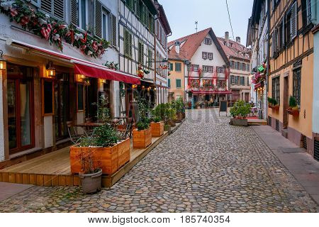 Old Half-timbered house in Strasbourg. Alsace. France.