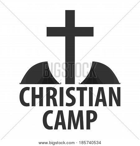 Logo Christian Summer Camp. Evening Camping. Cross. Vector Illustration.