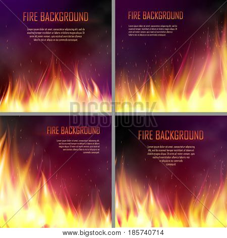 Set of banners with flame effects. Design element with realistic fiery, flaming bonfire,. Vector illustration of fire isolated on black dark background