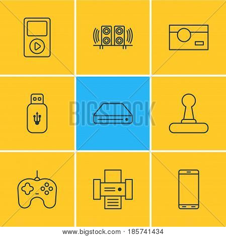 Vector Illustration Of 9 Gadget Icons. Editable Pack Of Memory Storage, Joypad, Loudspeaker And Other Elements.
