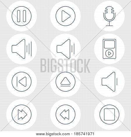 Vector Illustration Of 12 Melody Icons. Editable Pack Of Preceding, Mp3, Rewind And Other Elements.