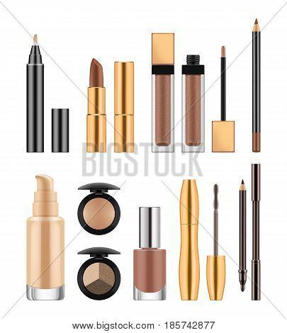 Set of cosmetics, lady makeup accessories lip stick, gloss, nail polish, cream tube, eyeline, eye shadow, mascara, vector realistic illustration, template for ads or beauty magazine