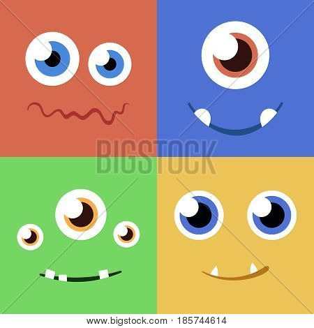 Set of cartoon monster faces with different expression of emotions. Bright emotional avatar collection. Kid theme. Vector illustration for any design.
