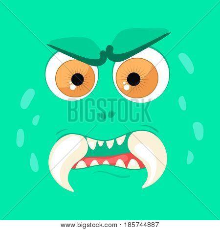 Cartoon monster face. Vector Halloween green angry fairy tale avatar. Vector illustration.