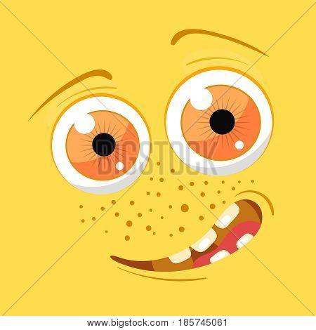 Cartoon monster face. Vector Halloween yellow smiling fairy tale avatar. Vector illustration.