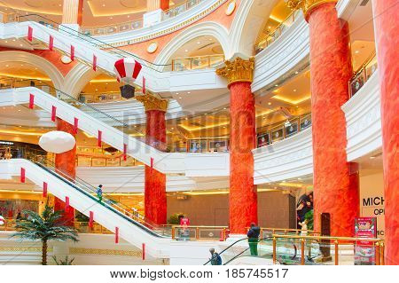 SHANGHAI CHINA - DECEMBER 28 2016: Global Harbor is a large shopping mall in Shanghai China. It has a floor area of 480000 square meters.