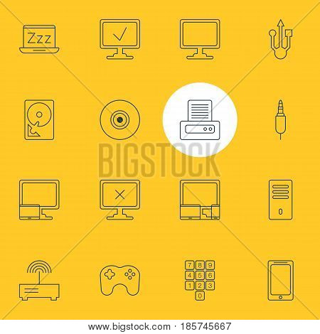 Vector Illustration Of 16 Notebook Icons. Editable Pack Of Smartphone, Gamepad, Number Keypad And Other Elements.