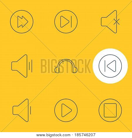 Vector Illustration Of 9 Music Icons. Editable Pack Of Subsequent, Preceding, Pause And Other Elements.