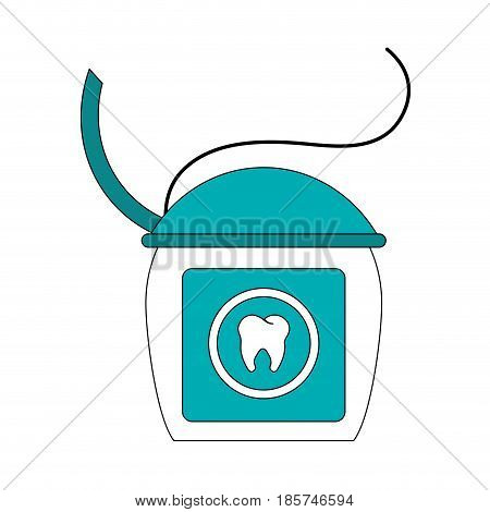 color image cartoon dental floss for oral health vector illustration