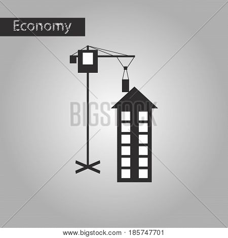 black and white style icon Construction crane and house
