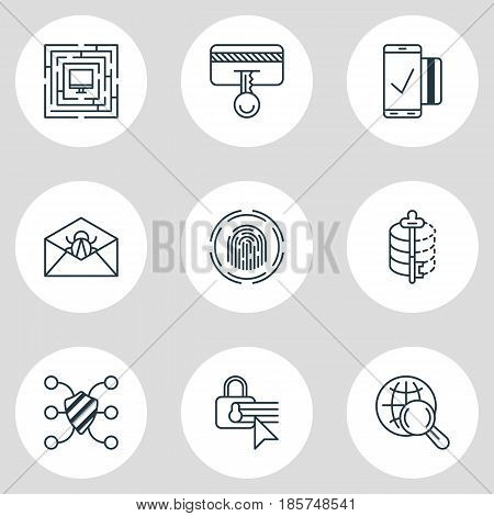 Vector Illustration Of 9 Internet Security Icons. Editable Pack Of Easy Payment, Safeguard, Finger Identifier And Other Elements.