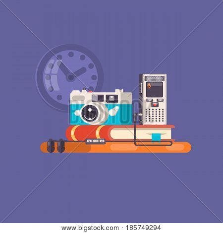 Journalist, paparazzi profession. Journalist workspace with tools and devices. Flat vector illustration