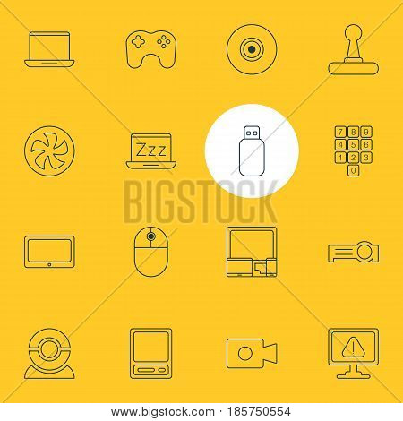 Vector Illustration Of 16 Laptop Icons. Editable Pack Of Flash Drive, Movie Cam, Web Camera And Other Elements.