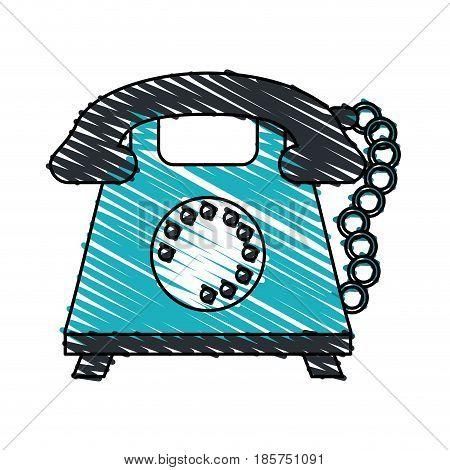 color crayon stripe cartoon retro telephone with cord vector illustration