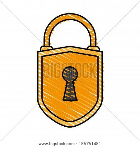 color crayon stripe cartoon padlock with shield body and shackle vector illustration