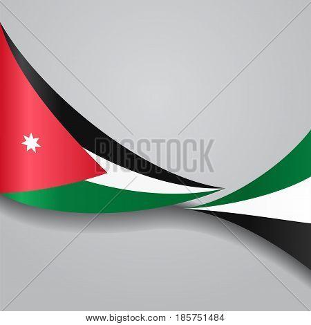Jordanian flag wavy abstract background. Vector illustration.
