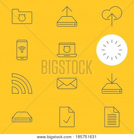 Vector Illustration Of 12 Internet Icons. Editable Pack Of Information Load, Checked Note, Hdd Sync And Other Elements.