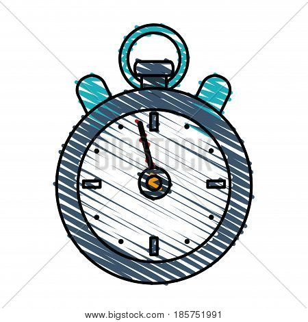 color crayon stripe cartoon stopwatch icon vector illustration